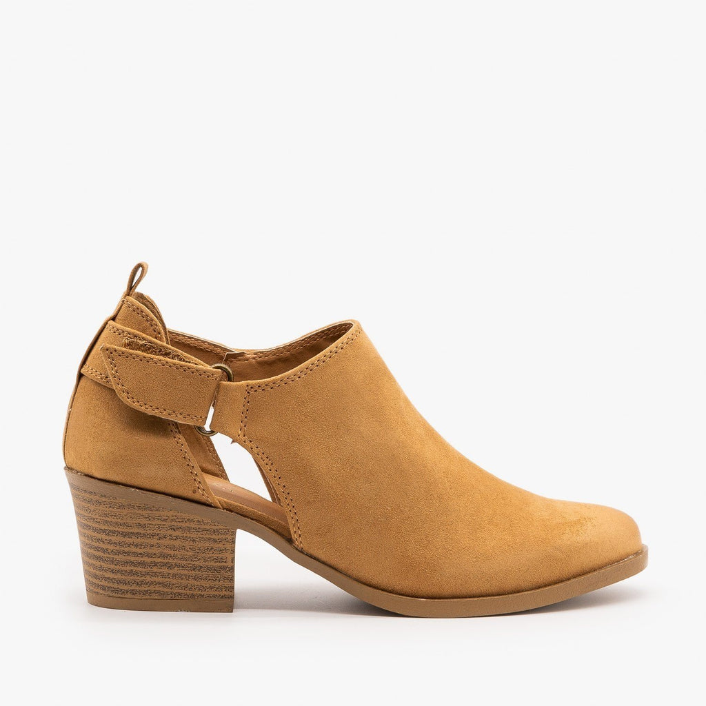 Womens Burnished Toe Slingback Style Booties - Qupid Shoes - Camel / 5