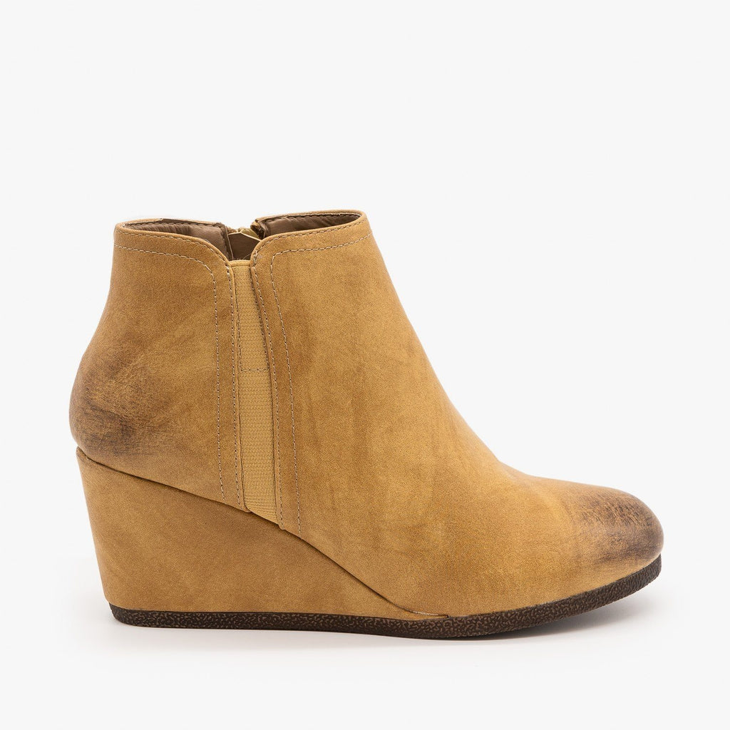 Womens Burnished Toe Wedge Bootie - Mata - Beige / 5