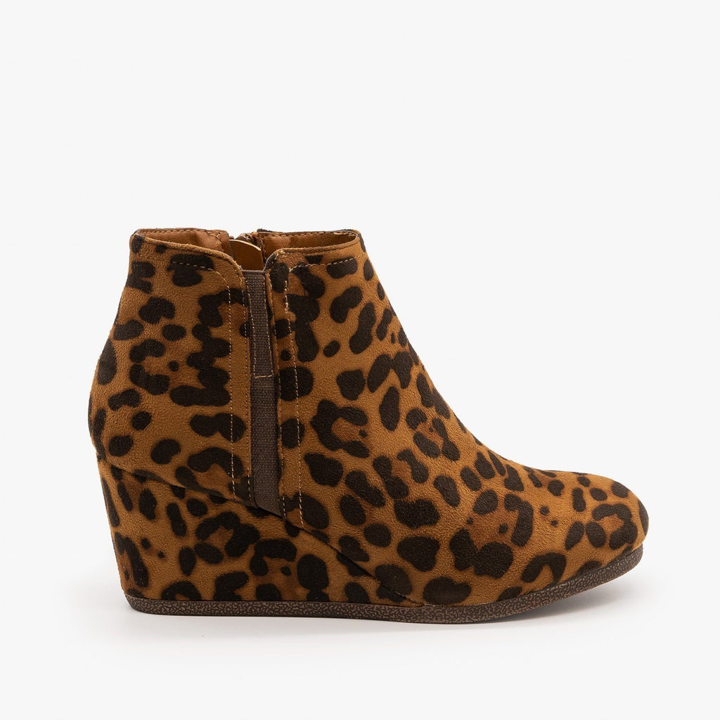 Womens Burnished Toe Wedge Bootie - Mata - Leopard / 5