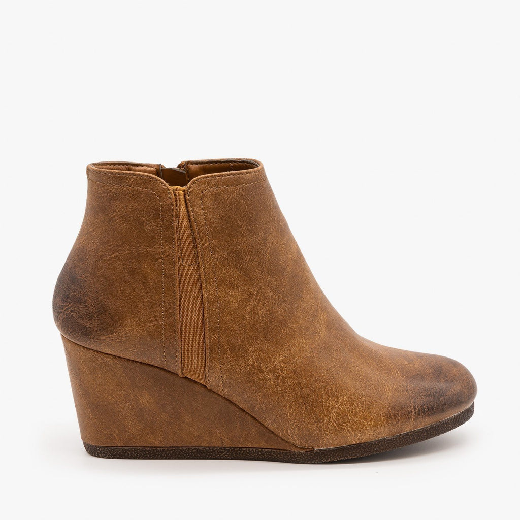 Womens Burnished Toe Wedge Bootie - Mata - Tan / 5
