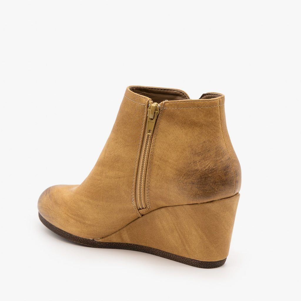 Womens Burnished Toe Wedge Bootie - Mata