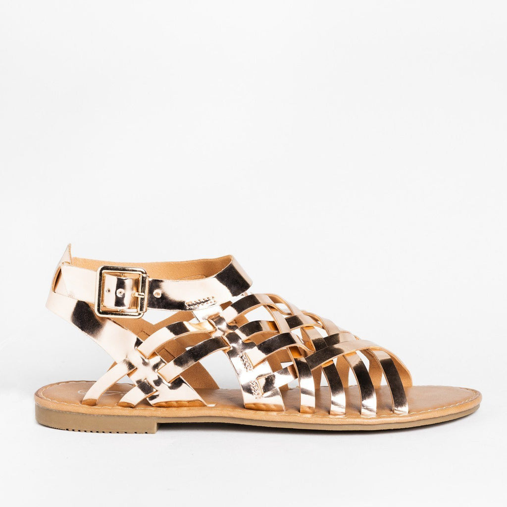 Womens Caged Ankle Strap Woven Sandals - Forever - Rose Gold / 5