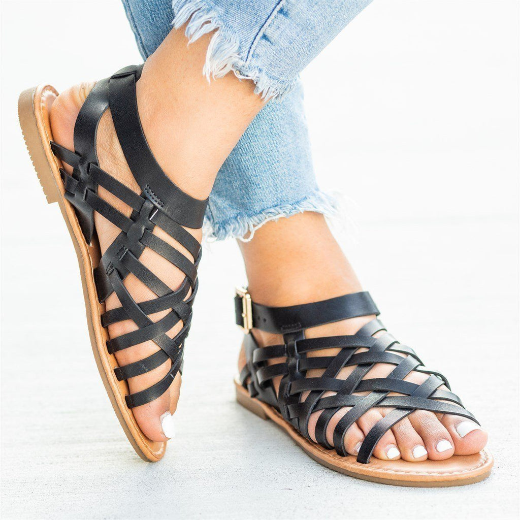 Womens Caged Ankle Strap Woven Sandals - Forever
