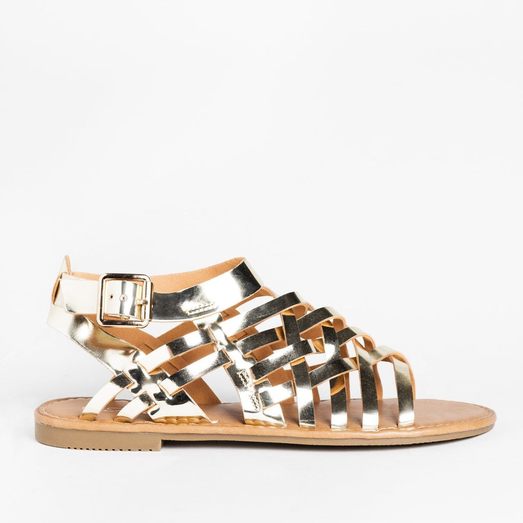 Womens Caged Ankle Strap Woven Sandals - Forever - Gold / 5
