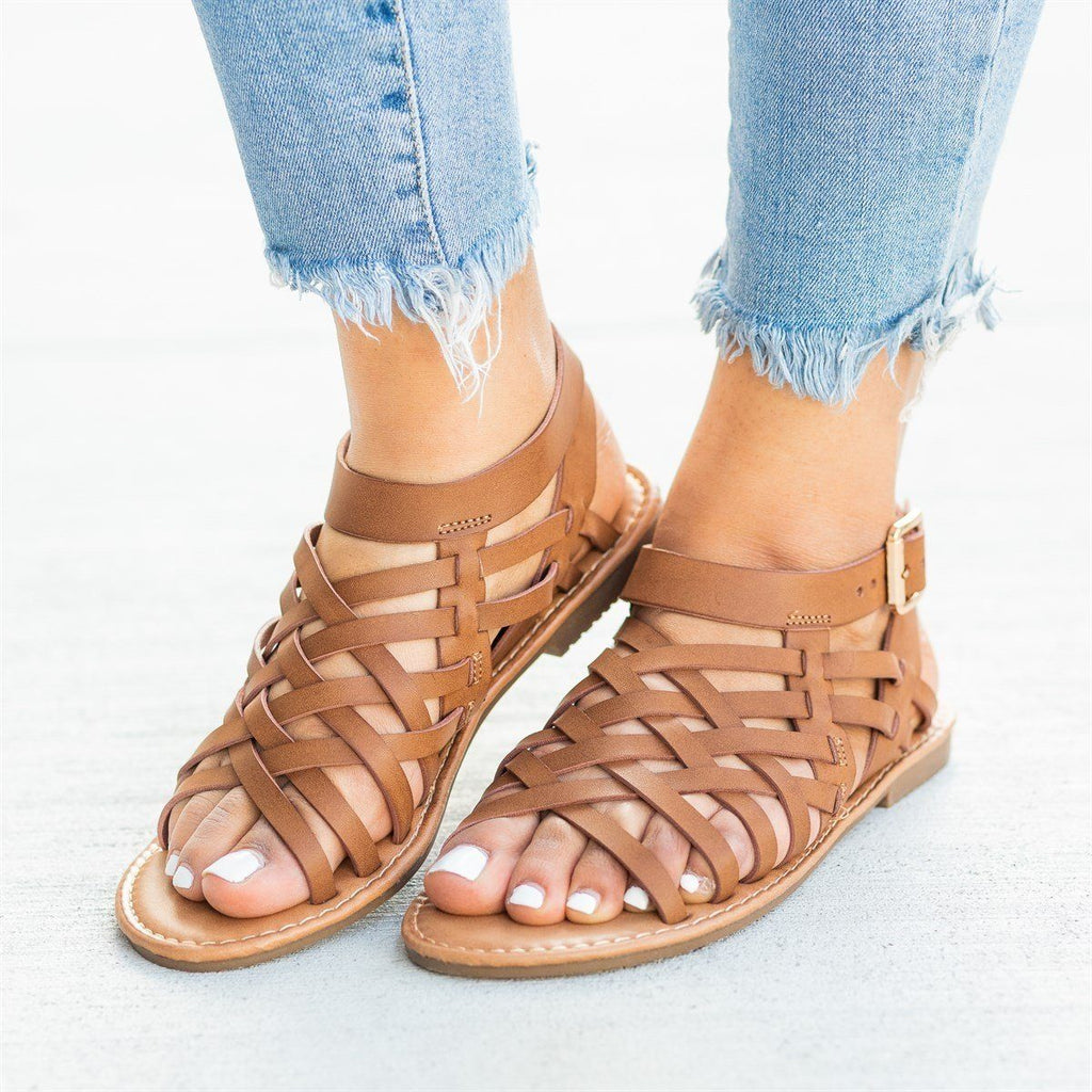 Womens Caged Ankle Strap Woven Sandals - Forever - Tan / 5