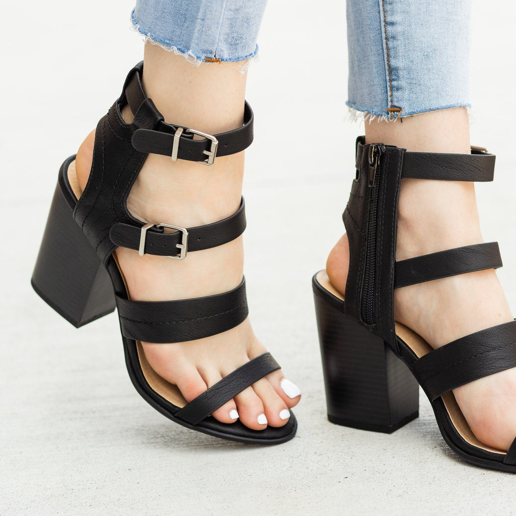 Womens Caged Buckled Fashionista Heels - Soda Shoes