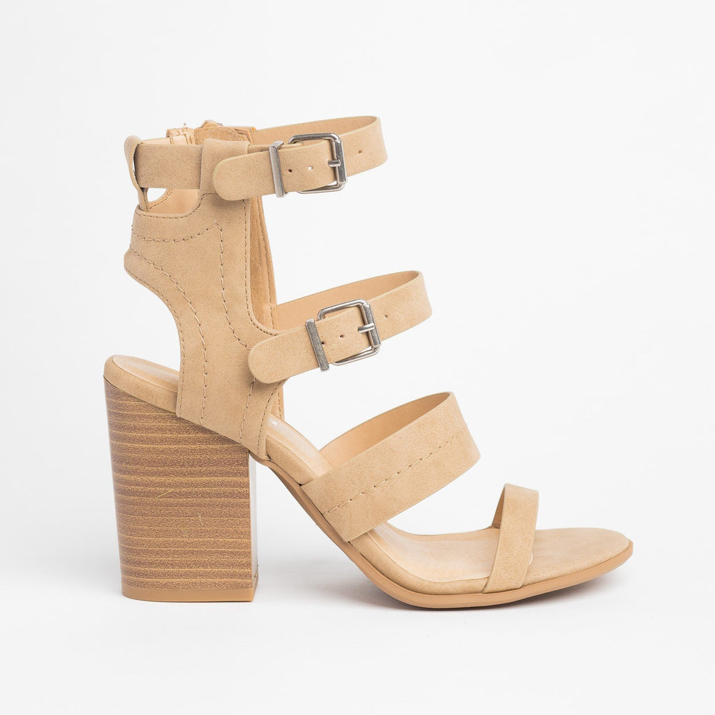 Womens Caged Buckled Fashionista Heels - Soda Shoes - Camel / 5