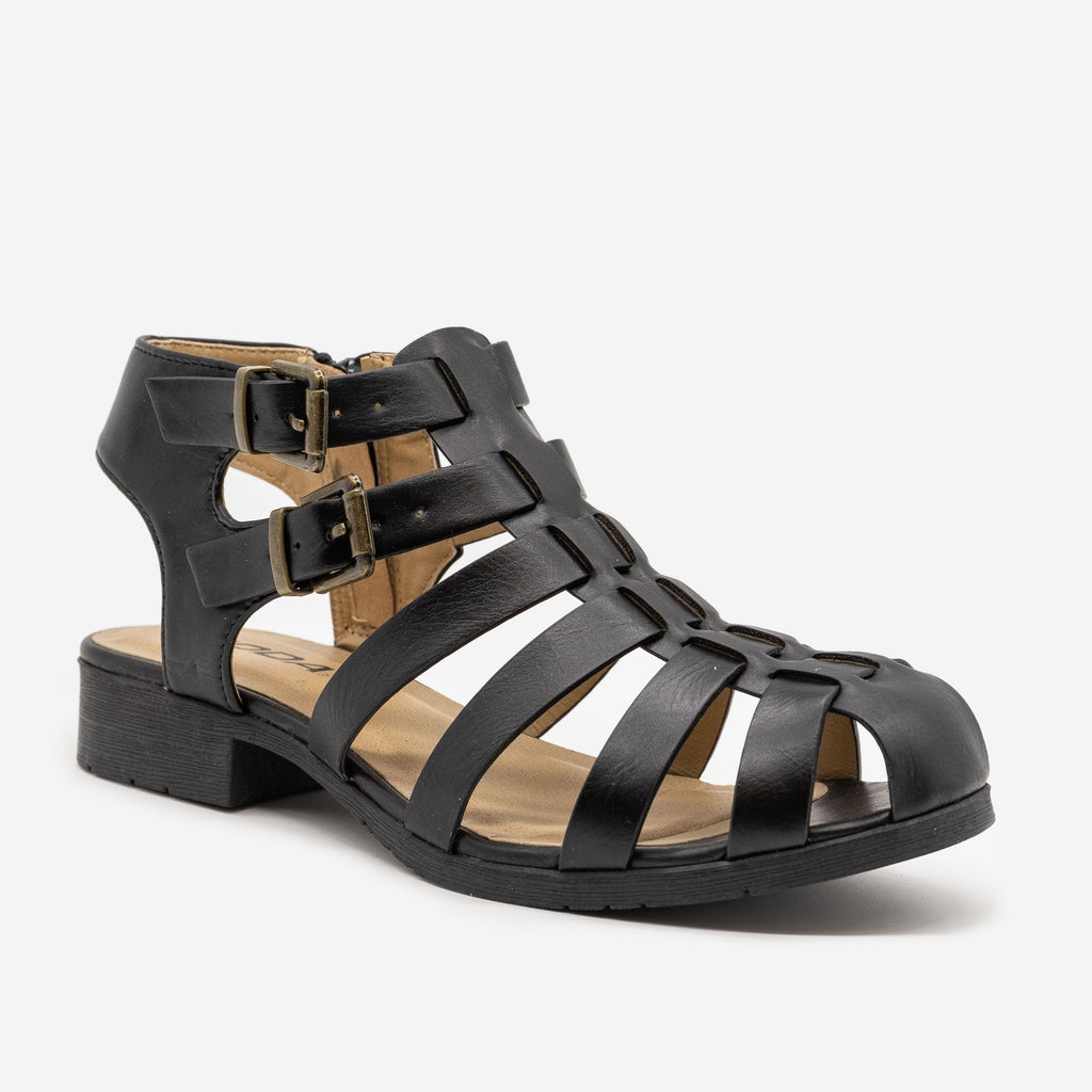 Women's Caged Buckled Sandals - Soda Shoes