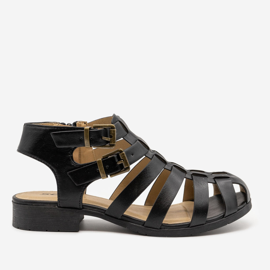 Women's Caged Buckled Sandals - Soda Shoes - Black / 5