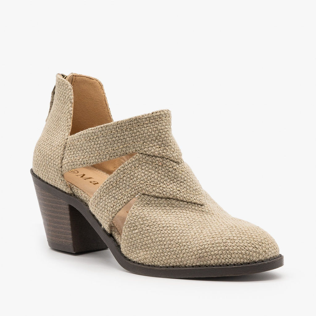 Womens Caged Canvas Booties - Mata - Beige / 5