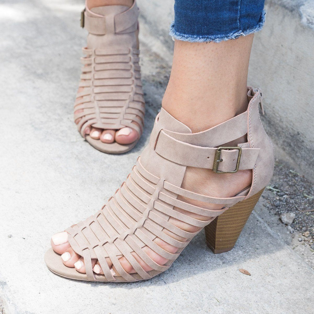 Womens Caged Chunky Heel Sandal - Qupid Shoes - Taupe / 5