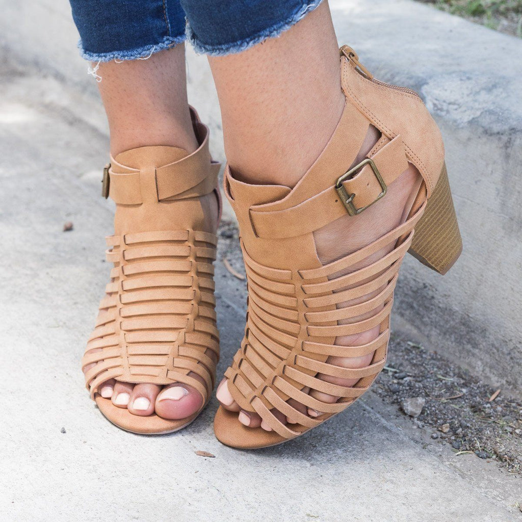 Womens Caged Chunky Heel Sandal - Qupid Shoes - Tan / 7.5