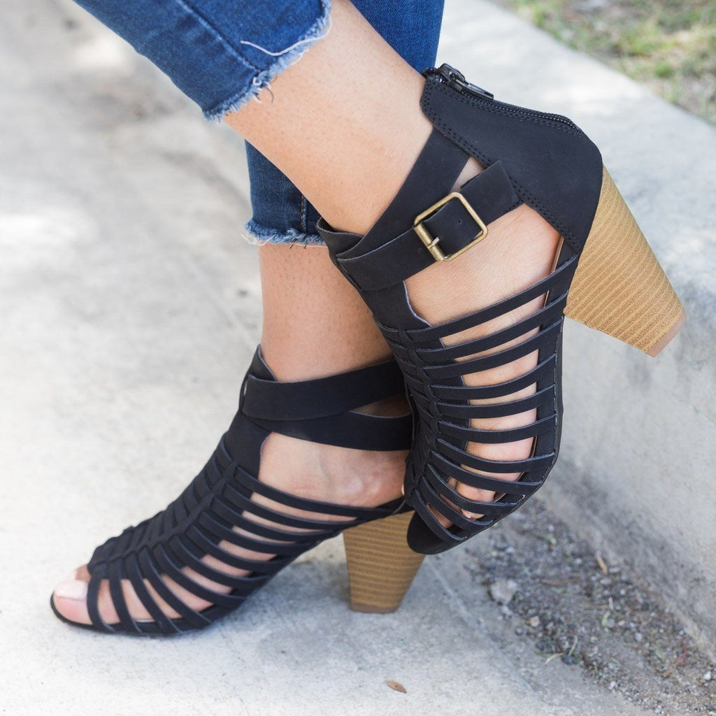 Womens Caged Chunky Heel Sandal - Qupid Shoes - Black / 5