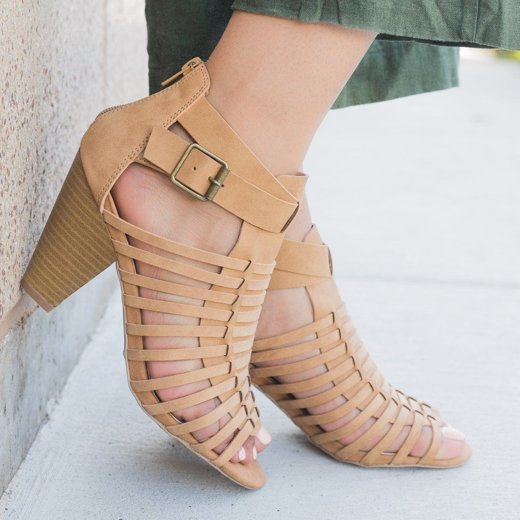 Womens Caged Chunky Heel Sandal - Qupid Shoes