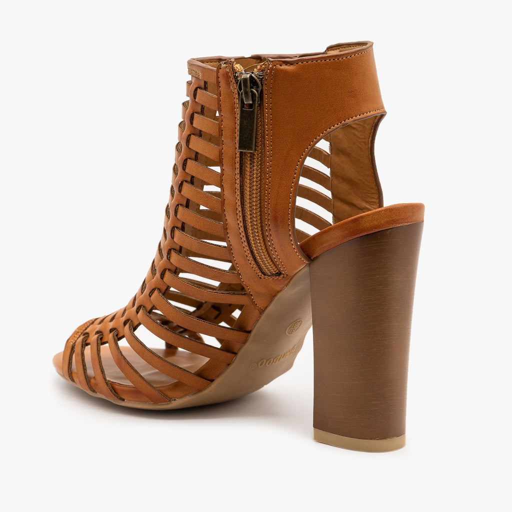 Womens Caged Chunky High Heel Sandals - Bamboo Shoes