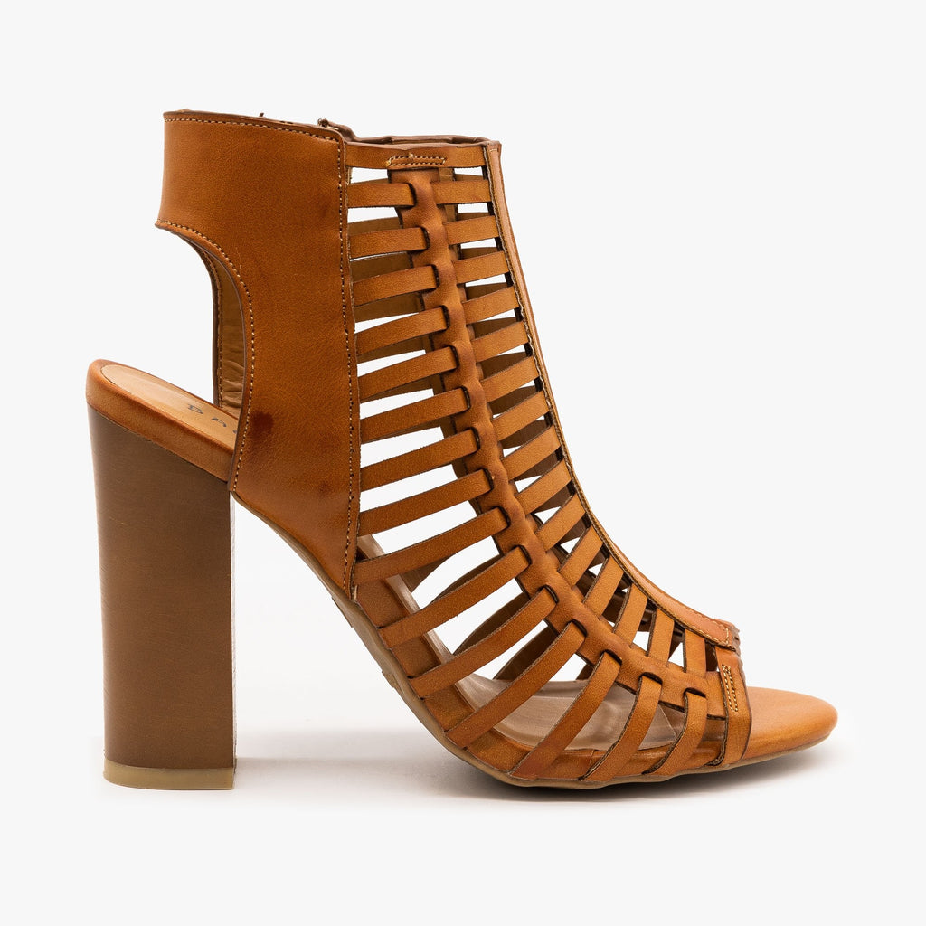 Womens Caged Chunky High Heel Sandals - Bamboo Shoes - Tan / 5