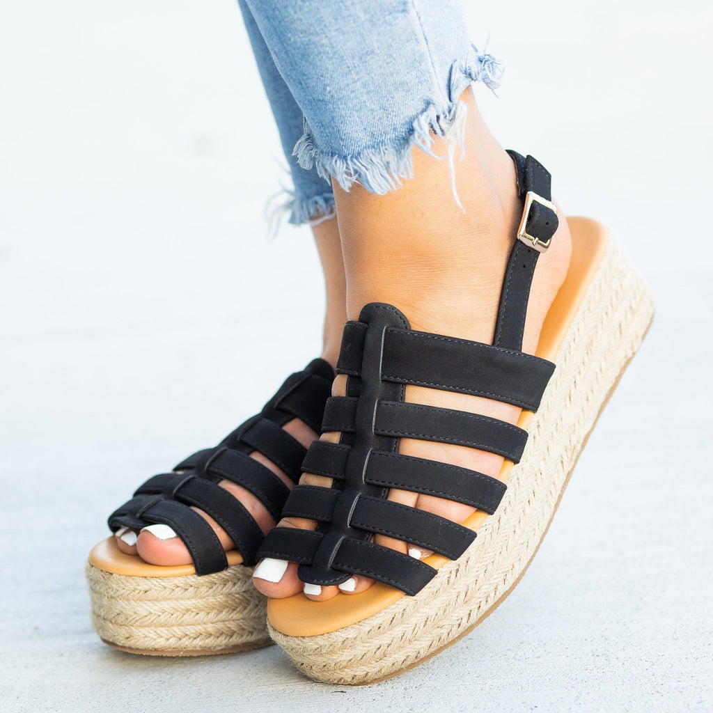Womens Caged Espadrille Flatforms - Qupid Shoes - Black / 5