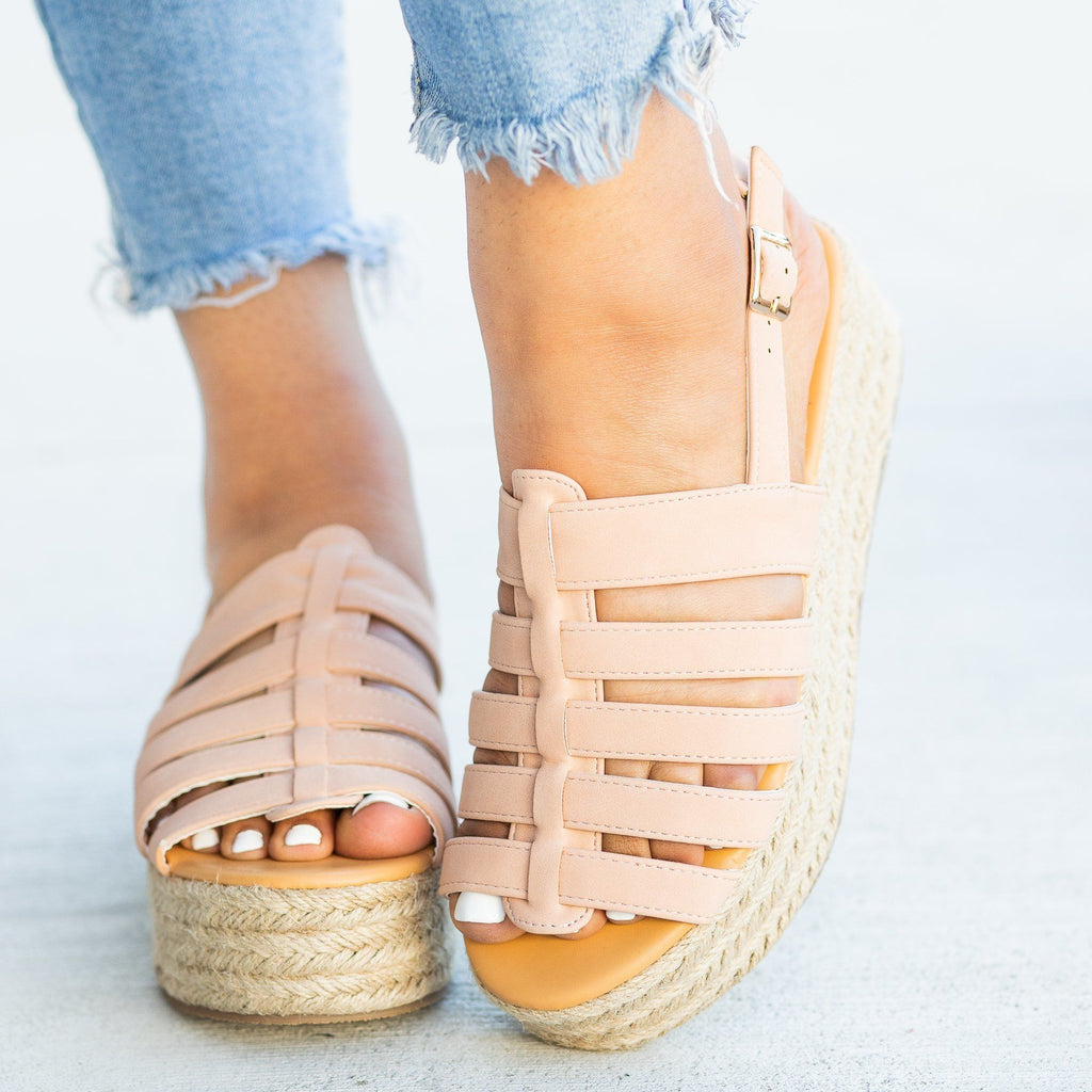 Womens Caged Espadrille Flatforms - Qupid Shoes - Blush / 5