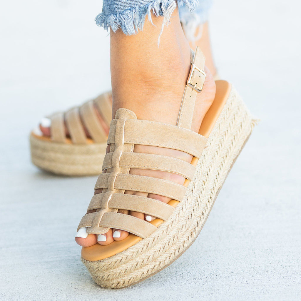 Womens Caged Espadrille Flatforms - Qupid Shoes - Tan / 5