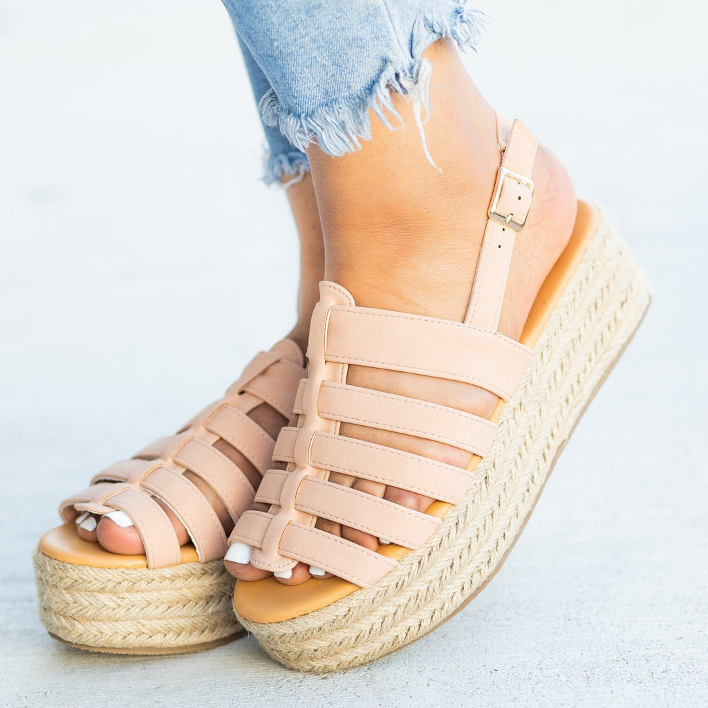 Womens Caged Espadrille Flatforms - Qupid Shoes