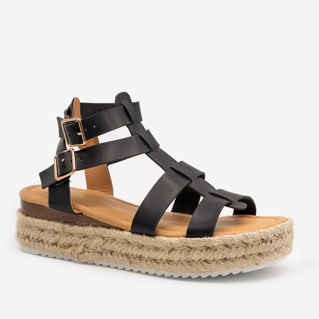 Women's Caged Espadrille Wedge Sandals - Anna Shoes