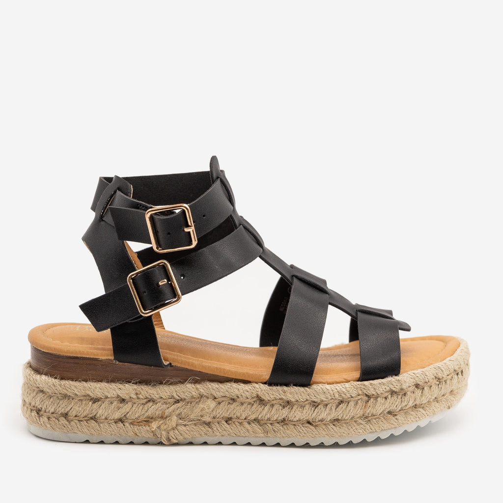 Women's Caged Espadrille Wedge Sandals - Anna Shoes - Black / 5