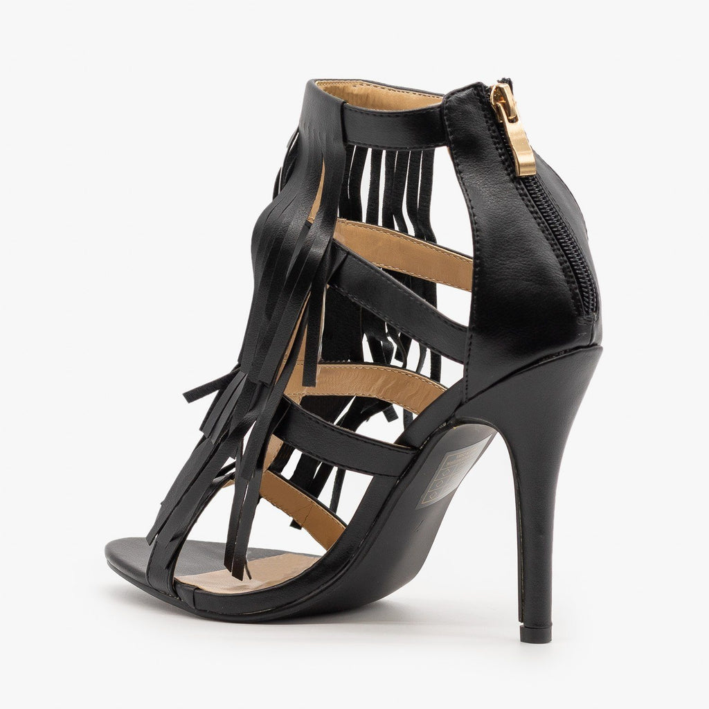 Womens Caged Fringe Stilettos - Adriana Shoes