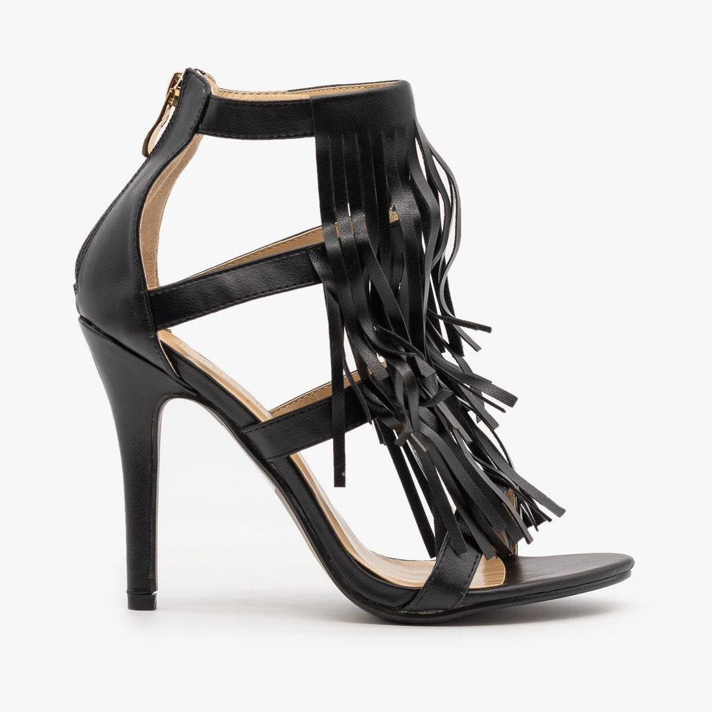 Womens Caged Fringe Stilettos - Adriana Shoes - Black / 5