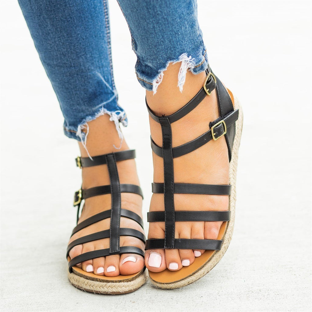 Womens Caged Gladiator Espadrille Fashion Sandals - Soda Shoes