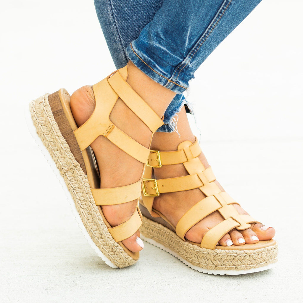 Womens Caged Gladiator Espadrille Flatform Wedges - Soda Shoes - Nude / 5
