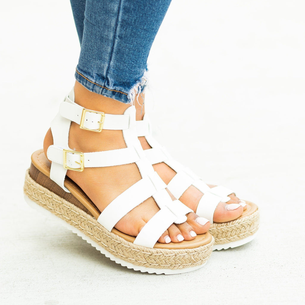 Womens Caged Gladiator Espadrille Flatform Wedges - Soda Shoes - White / 5