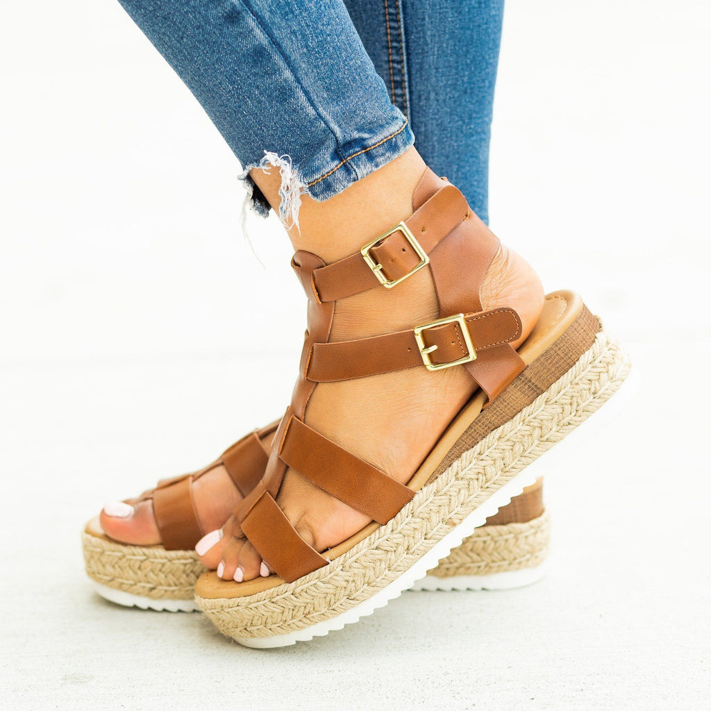 Womens Caged Gladiator Espadrille Flatform Wedges - Soda Shoes - Tan / 5