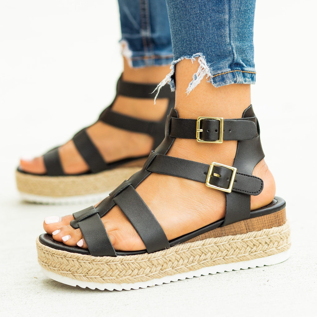 Womens Caged Gladiator Espadrille Flatform Wedges - Soda Shoes - Black / 5