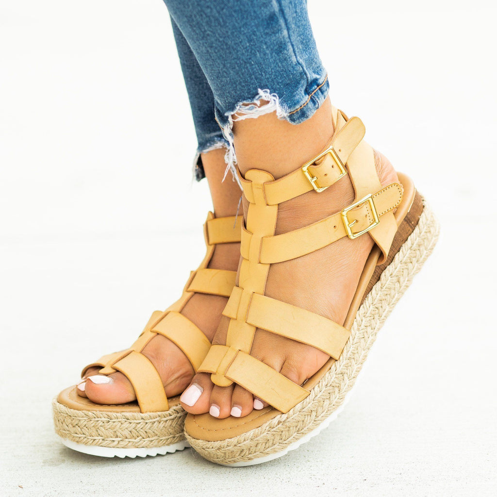 Womens Caged Gladiator Espadrille Flatform Wedges - Soda Shoes