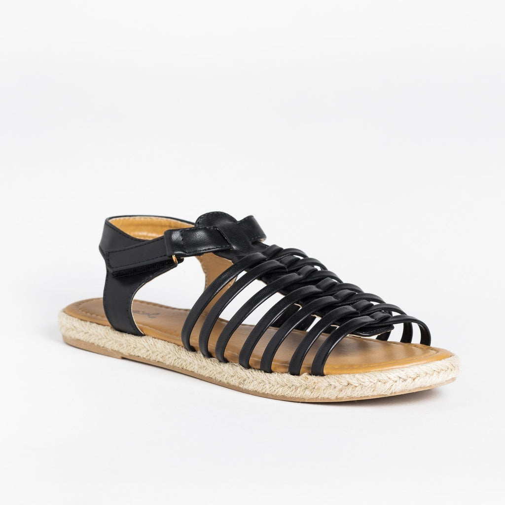 Womens Caged Gladiator Espadrille Sandals - Qupid Shoes - Black / 5