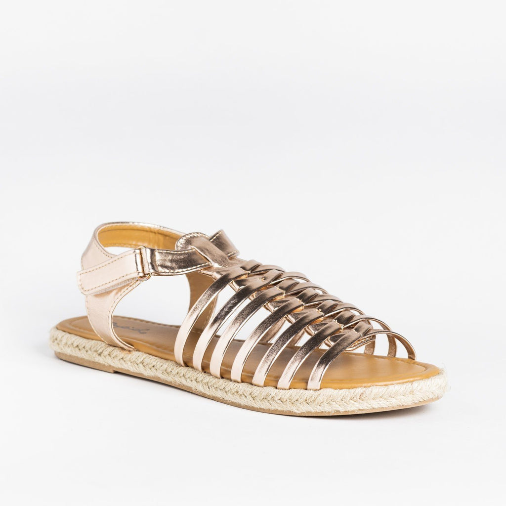 Womens Caged Gladiator Espadrille Sandals - Qupid Shoes - Rose Gold / 5