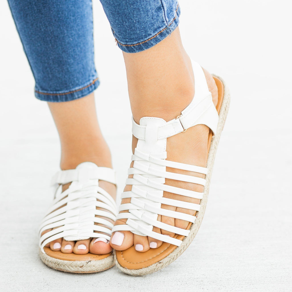 Womens Caged Gladiator Espadrille Sandals - Qupid Shoes