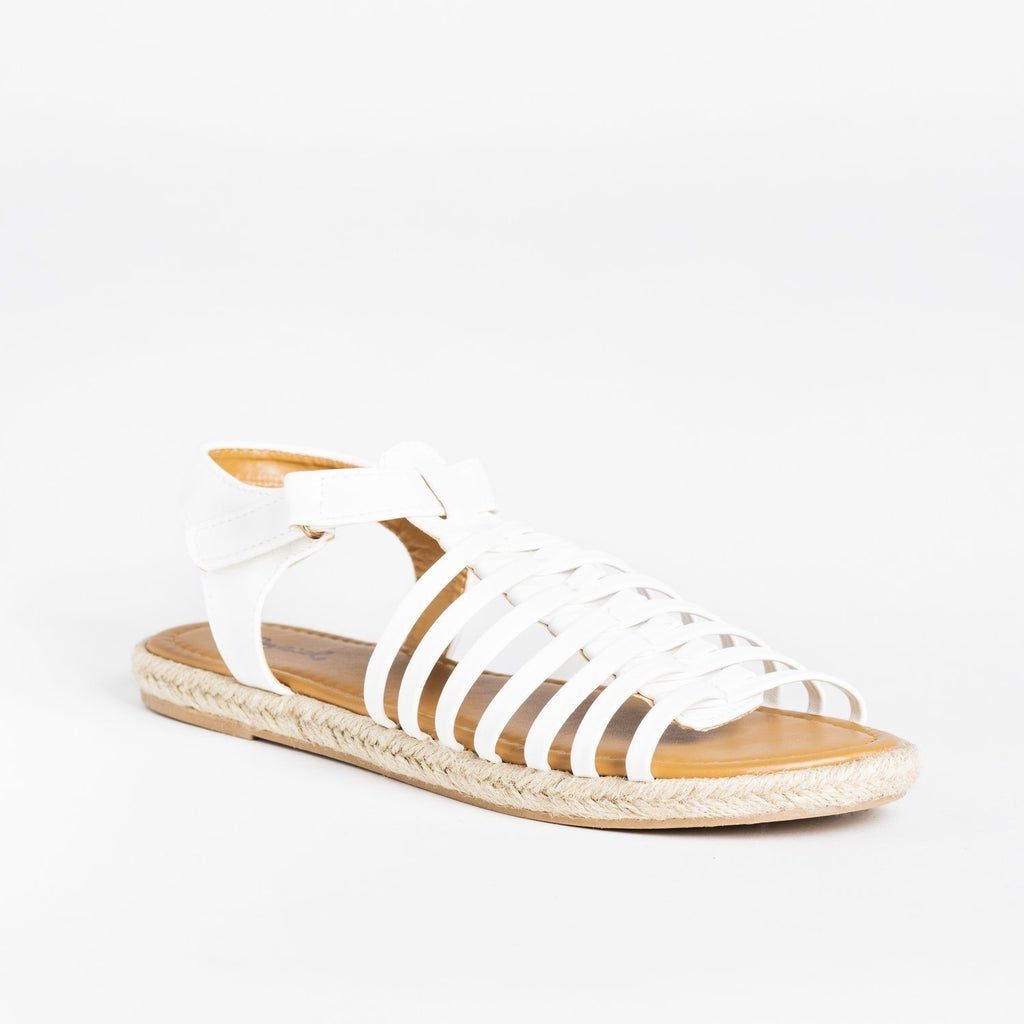 Womens Caged Gladiator Espadrille Sandals - Qupid Shoes - White / 5