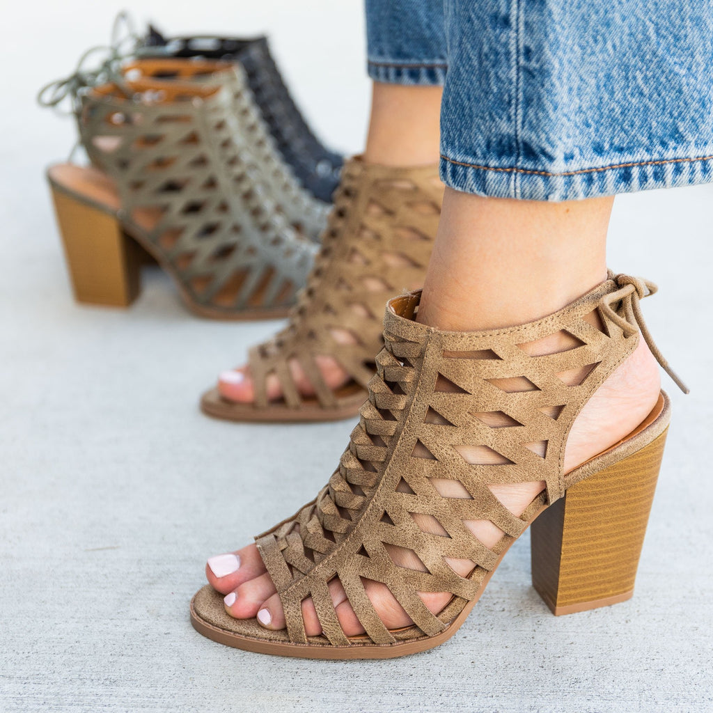 Women's Caged Lace-Up Diva Heels - Qupid Shoes