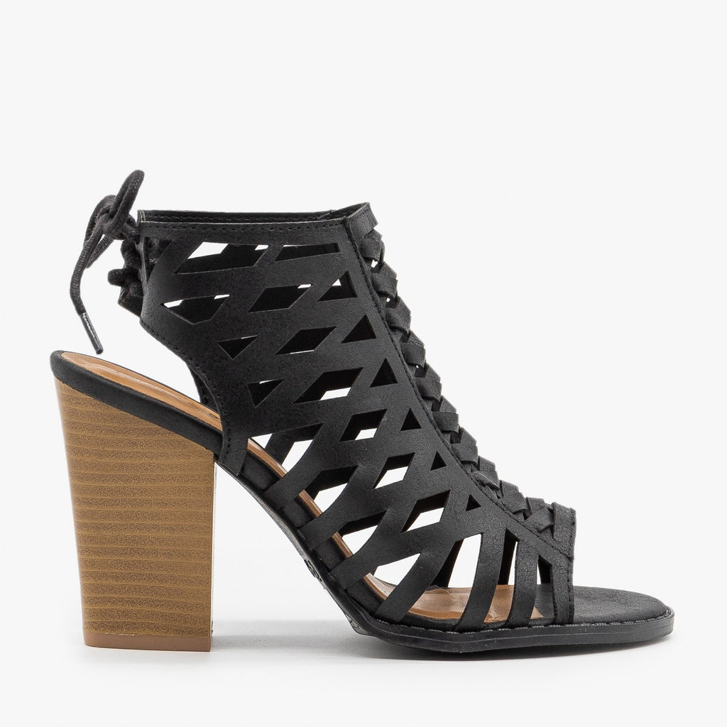 Womens Caged Lace-Up Diva Heels - Qupid Shoes - Black / 5