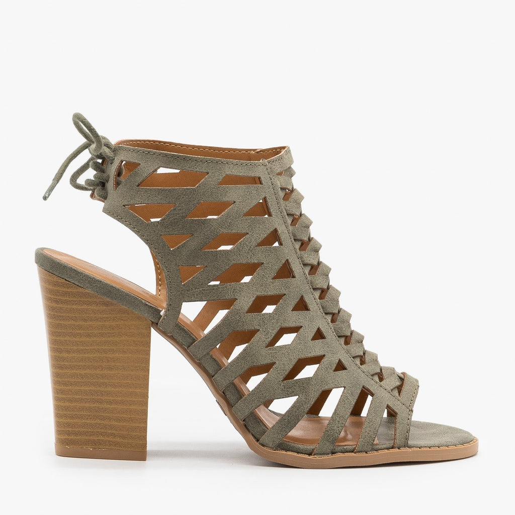 Womens Caged Lace-Up Diva Heels - Qupid Shoes - Khaki / 5