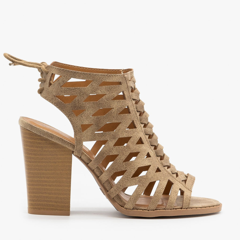 Womens Caged Lace-Up Diva Heels - Qupid Shoes - Taupe / 5