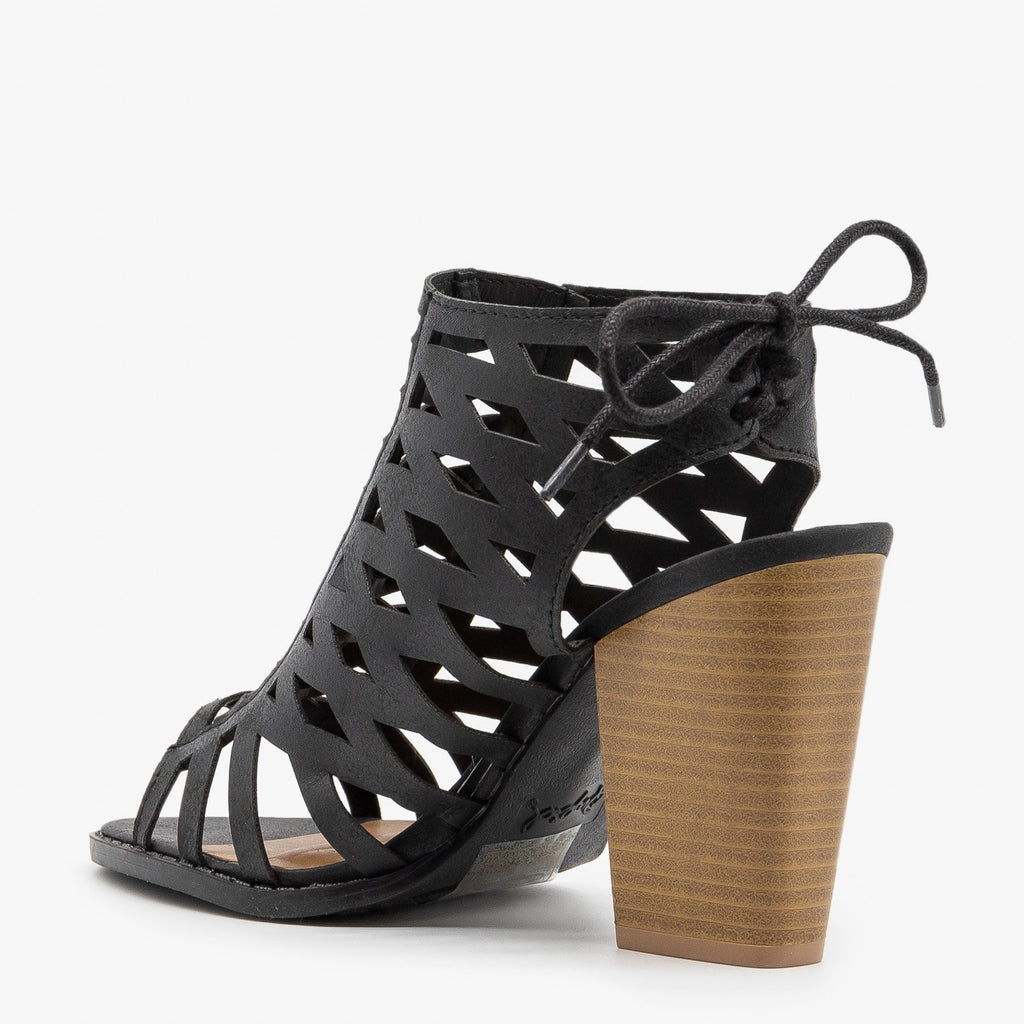 Womens Caged Lace-Up Diva Heels - Qupid Shoes