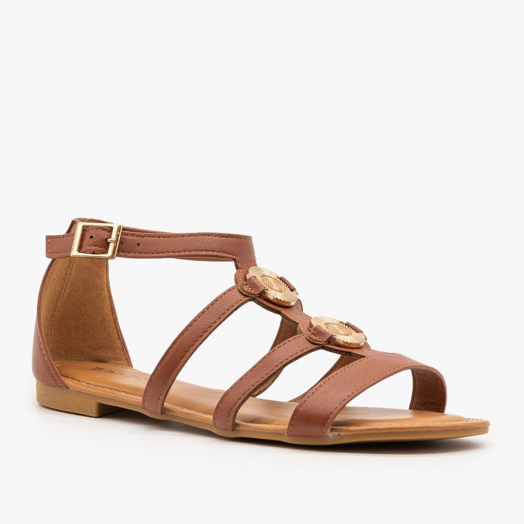 Womens Caged Medallion Sandals - Bamboo Shoes - Chestnut / 5