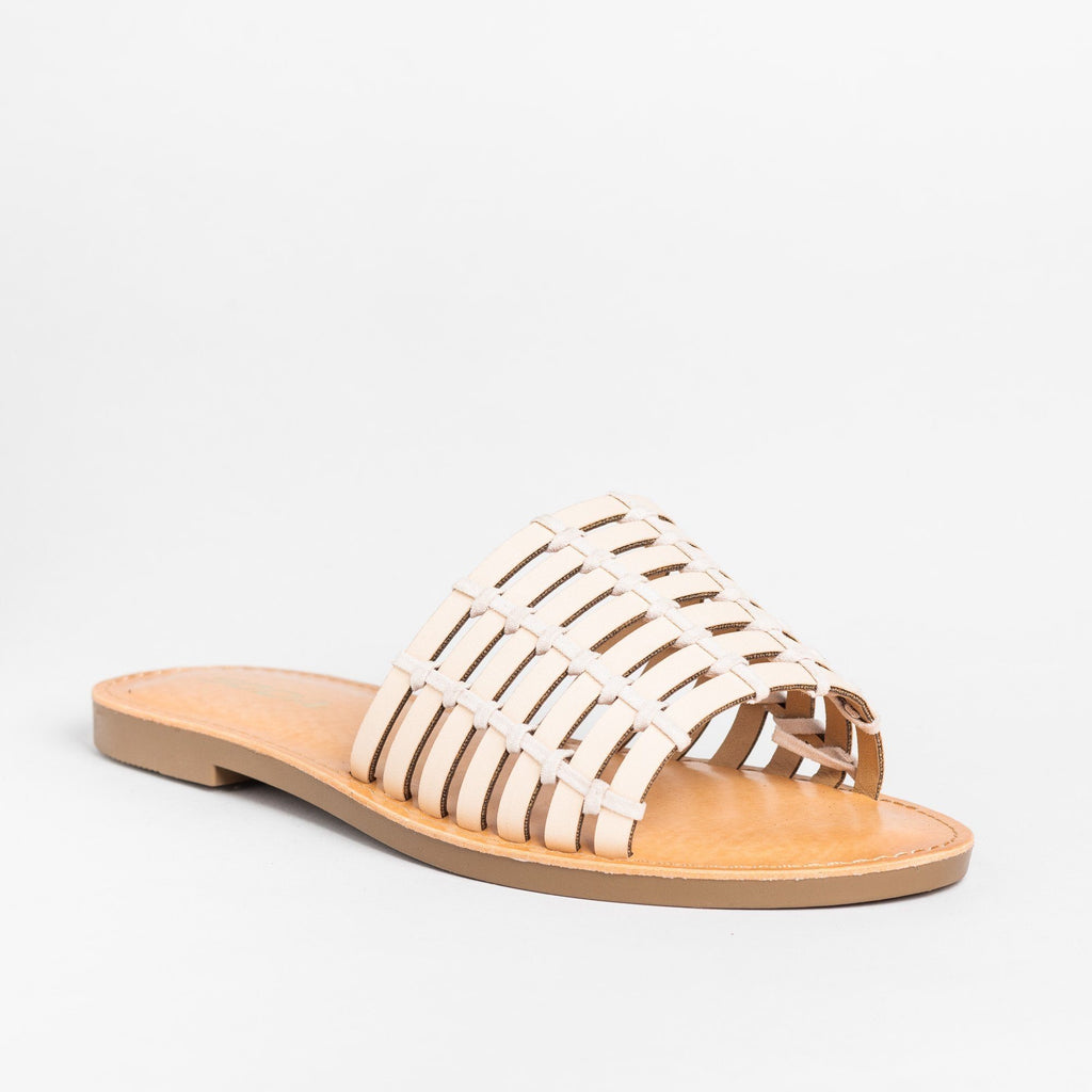 Womens Caged Slip-On Sandals - Soda Shoes - Nude / 5