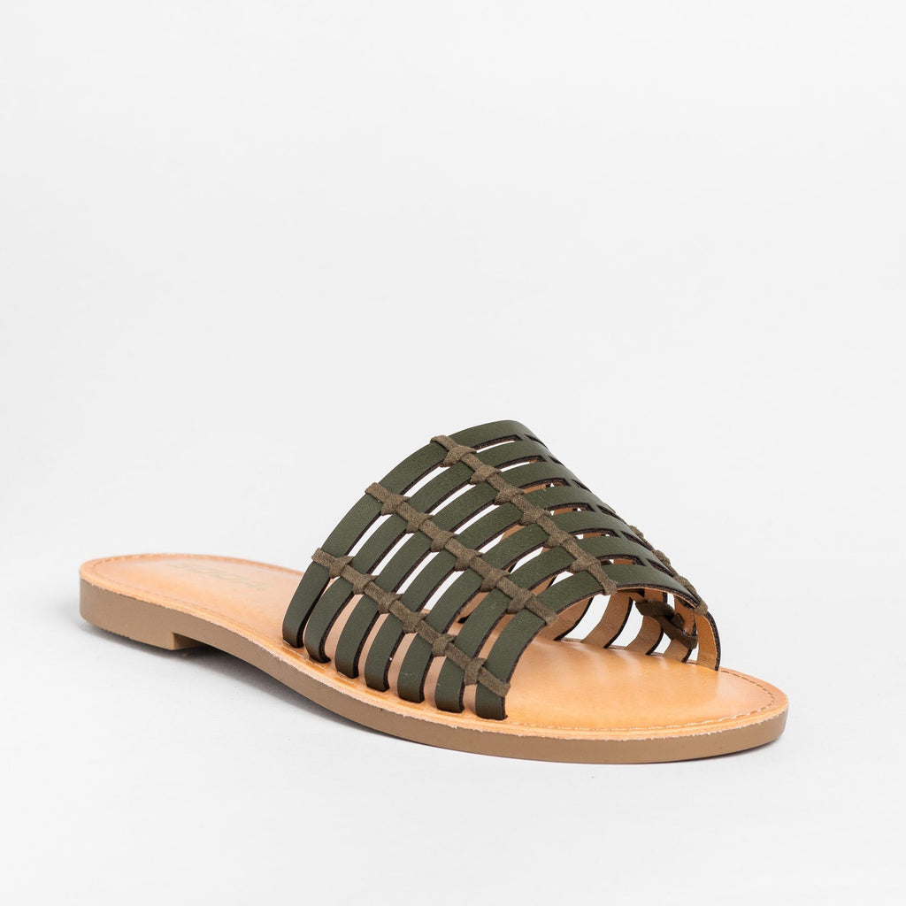 Womens Caged Slip-On Sandals - Soda Shoes - Khaki / 5