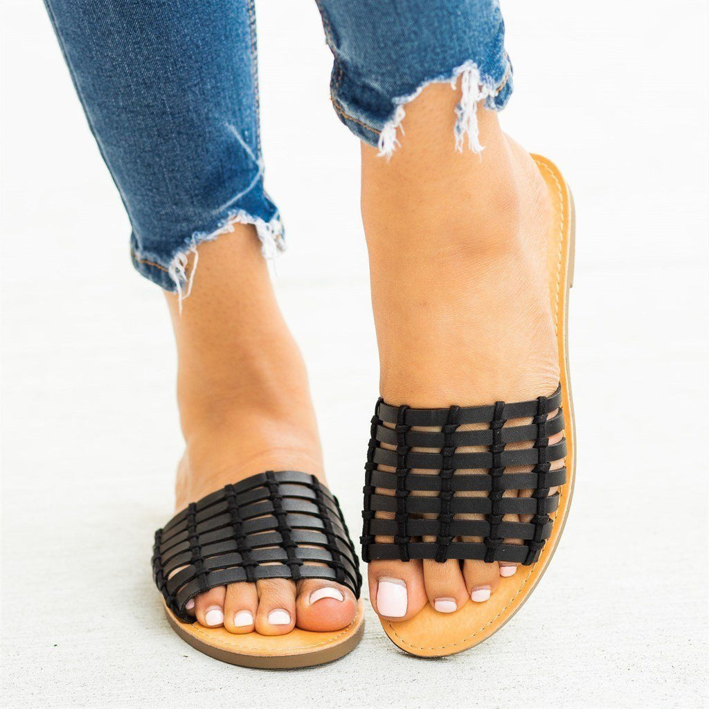 Womens Caged Slip-On Sandals - Soda Shoes