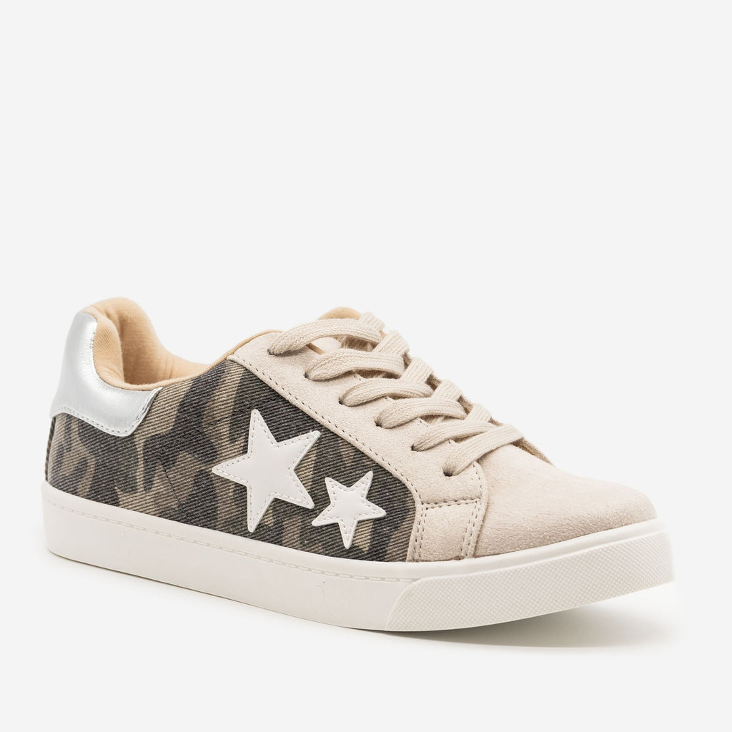 Women's Camo Lace-Up Star Sneakers - Soda Shoes