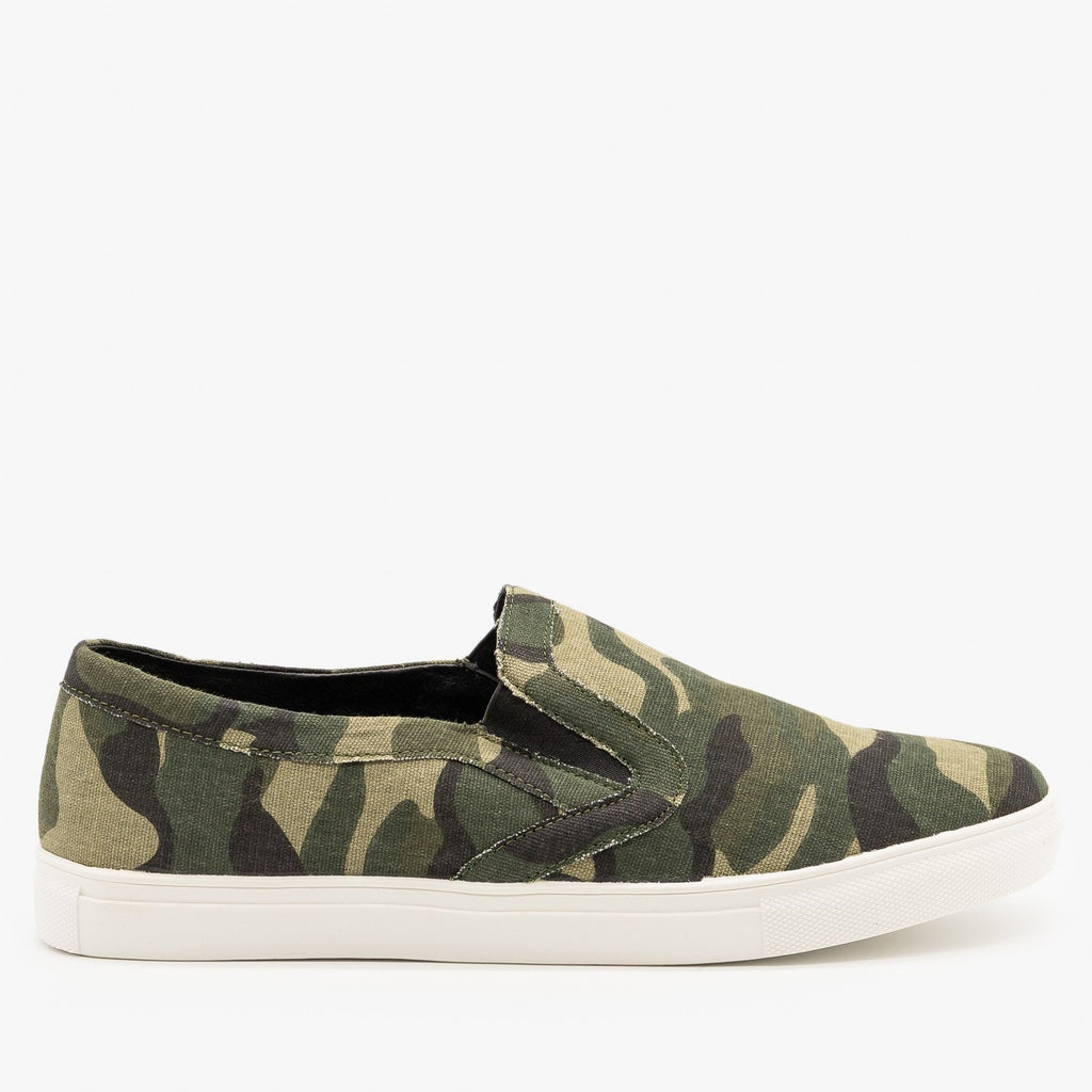 Womens Camo Slip On Fashion Sneakers - Mata - Camo / 5