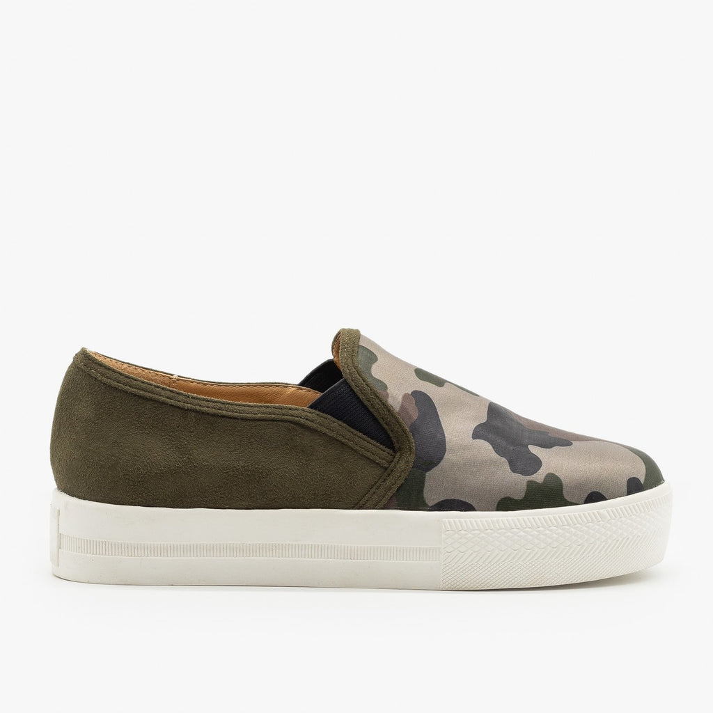 Womens Camo Slip On Sneakers - Shoetopia